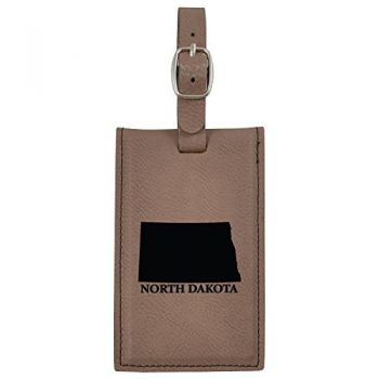 North Dakota-State Outline-Leatherette Luggage Tag -Brown