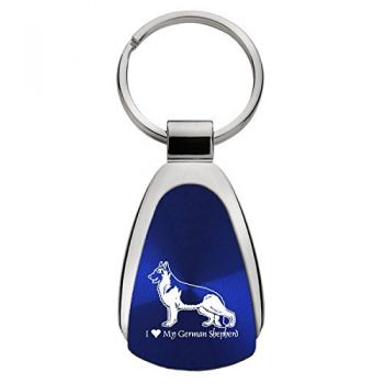 Teardrop Shaped Keychain Fob  - I Love My German Shepard
