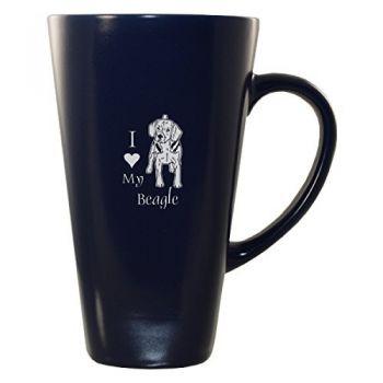 16 oz Square Ceramic Coffee Mug  - I Love My Beagle