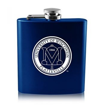 University of Wisconsin-Platteville-6 oz. Color Stainless Steel Flask-Blue