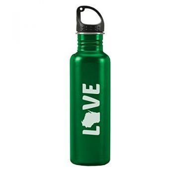 Wisconsin-State Outline-Love-24-ounce Sport Water Bottle-Green
