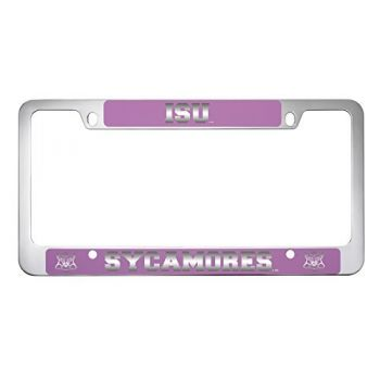 Indiana State University -Metal License Plate Frame-Pink