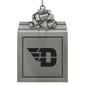 University of Dayton -Pewter Christmas Holiday Present Ornament-Silver