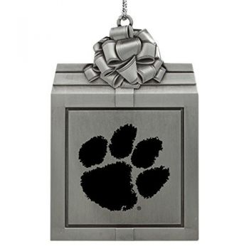 Clemson University -Pewter Christmas Holiday Present Ornament-Silver