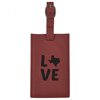 Texas-State Outline-Love-Leatherette Luggage Tag -Burgundy