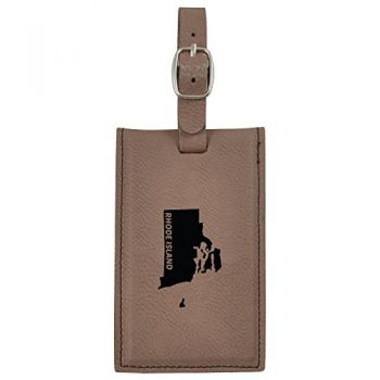 Rhode Island-State Outline-Leatherette Luggage Tag -Brown
