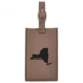 New York-State Outline-Leatherette Luggage Tag -Brown