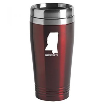 16 oz Stainless Steel Insulated Tumbler - Mississippi State Outline - Mississippi State Outline