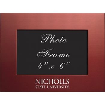 Nicholls State University - 4x6 Brushed Metal Picture Frame - Red