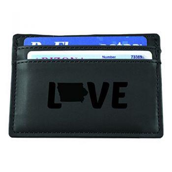Iowa-State Outline-Love-European Money Clip Wallet-Black
