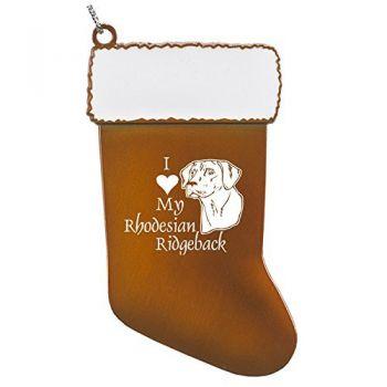Pewter Christmas Stocking Ornament-I love my Rhodesian Ridgeback-Orange