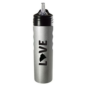 South Carolina-State Outline-Love-Stainless Steel Grip Water Bottle with Straw-Silver