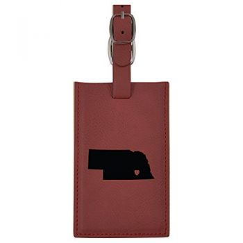 Nebraska-State Outline-Heart-Leatherette Luggage Tag -Burgundy