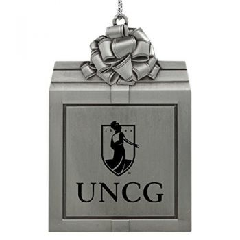 University of North Carolina at Greensboro-Pewter Christmas Holiday Present Ornament-Silver