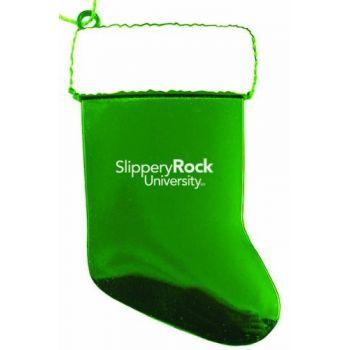 Slippery Rock University of Pennsylvania - Christmas Holiday Stocking Ornament - Green