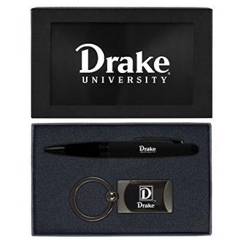 Drake University-Executive Twist Action Ballpoint Pen Stylus and Gunmetal Key Tag Gift Set-Black