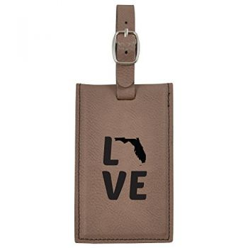 Florida-State Outline-Love-Leatherette Luggage Tag -Brown