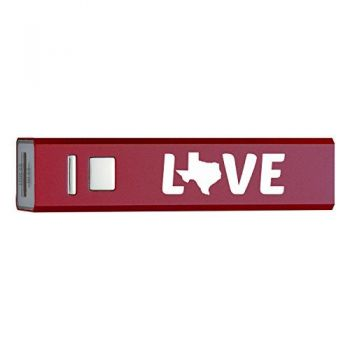 Texas-State Outline-Love-Portable 2600 mAh Cell Phone Charger-