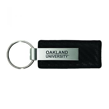 Oakland University-Carbon Fiber Leather and Metal Key Tag-Black