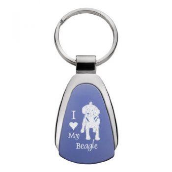 Teardrop Shaped Keychain Fob  - I Love My Beagle