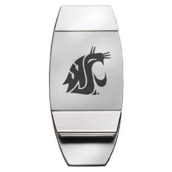 Washington State University - Two-Toned Money Clip - Silver