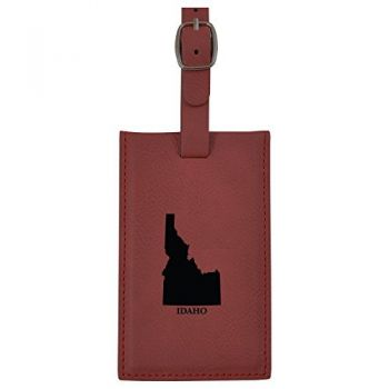 Idaho-State Outline-Leatherette Luggage Tag -Burgundy