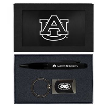 Auburn University -Executive Twist Action Ballpoint Pen Stylus and Gunmetal Key Tag Gift Set-Black