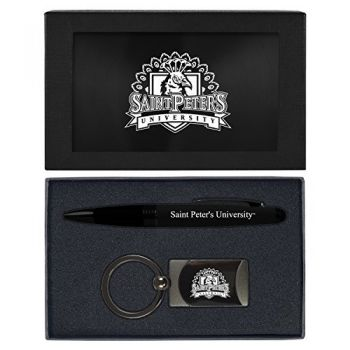 Saint Peter's University -Executive Twist Action Ballpoint Pen Stylus and Gunmetal Key Tag Gift Set-Black