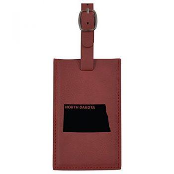 North Dakota-State Outline-Leatherette Luggage Tag -Burgundy