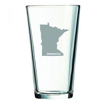 16 oz Pint Glass  - Minnesota State Outline - Minnesota State Outline