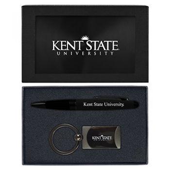 Kent State University-Executive Twist Action Ballpoint Pen Stylus and Gunmetal Key Tag Gift Set-Black