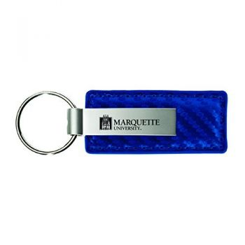 Marquette University-Carbon Fiber Leather and Metal Key Tag-Blue