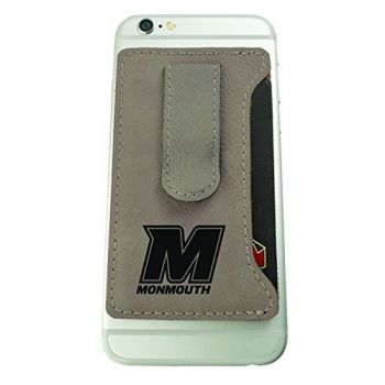 Monmouth University -Leatherette Cell Phone Card Holder-Tan