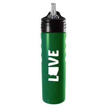 Arizona-State Outline-Love-Stainless Steel Grip Water Bottle with Straw-Green
