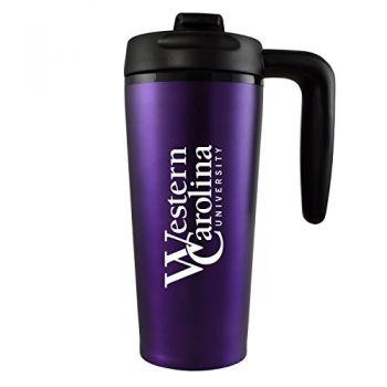 Western Carolina University -16 oz. Travel Mug Tumbler with Handle-Purple