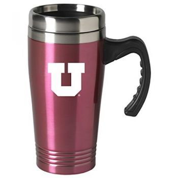 University of Utah-16 oz. Stainless Steel Mug-Pink