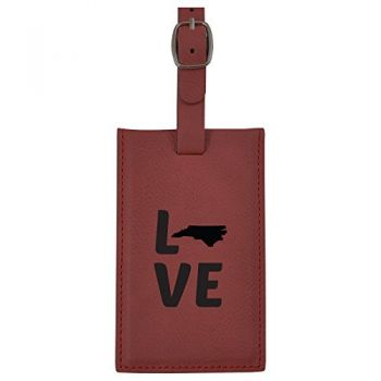North Carolina-State Outline-Love-Leatherette Luggage Tag -Burgundy