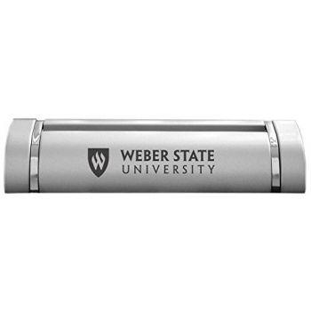 Weber State University-Desk Business Card Holder -Silver