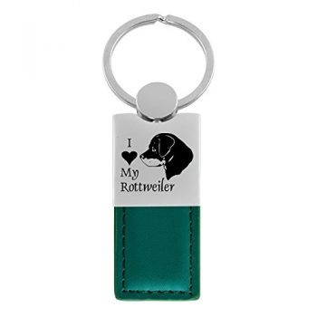 Modern Leather and Metal Keychain  - I Love My Rottweiler