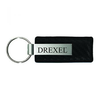 Drexel University-Carbon Fiber Leather and Metal Key Tag-Black