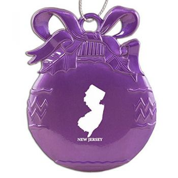 Pewter Christmas Bulb Ornament - New Jersey State Outline - New Jersey State Outline