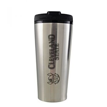 Cleveland State University -16 oz. Travel Mug Tumbler-Silver