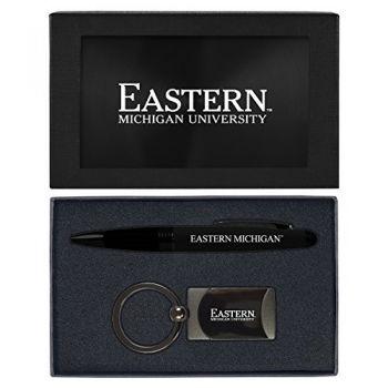 Eastern Michigan University-Executive Twist Action Ballpoint Pen Stylus and Gunmetal Key Tag Gift Set-Black
