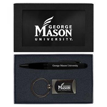 George Mason University -Executive Twist Action Ballpoint Pen Stylus and Gunmetal Key Tag Gift Set-Black