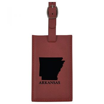 Arkansas-State Outline-Leatherette Luggage Tag -Burgundy