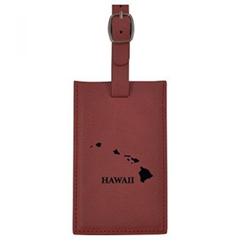 Hawaii-State Outline-Leatherette Luggage Tag -Burgundy