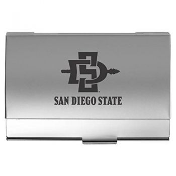 San Diego State University - Two-Tone Business Card Holder - Silver