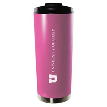 University of Utah-16oz. Stainless Steel Vacuum Insulated Travel Mug Tumbler-Pink