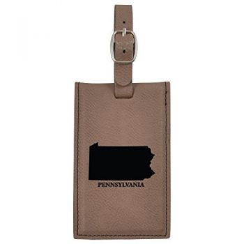 Pennsylvania-State Outline-Leatherette Luggage Tag -Brown
