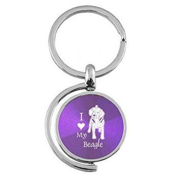 Spinner Round Keychain  - I Love My Beagle